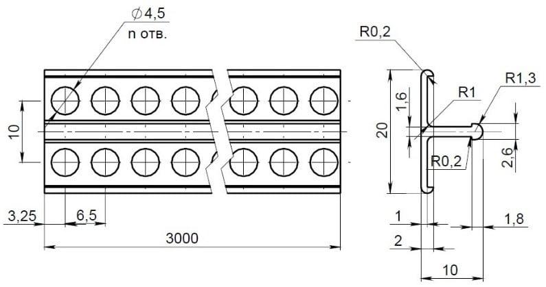 Чертеж маячкового профиля из ПВХ POLIVENT 10 мм, Маячковый профиль, маячковый профиль 10мм