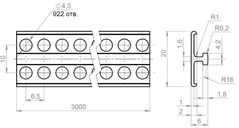Чертеж маячкового профиля из ПВХ POLIVENT 6 мм, Маячковый профиль, маячковый профиль 10мм